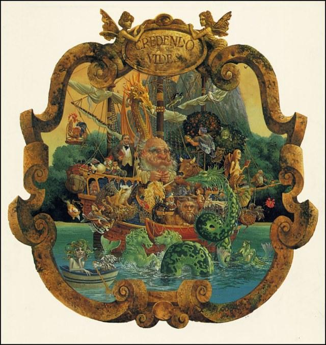 """Voyage of the Basset con su lema """"Credendo Vides"""""""